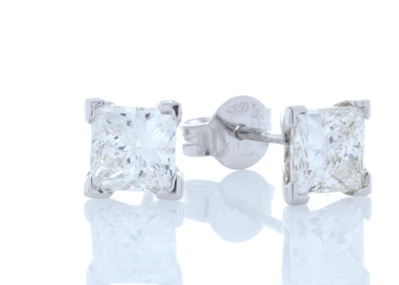 18ct White Gold Princess Cut Diamond Earrings 2.01 Carats - Image 2 of 3