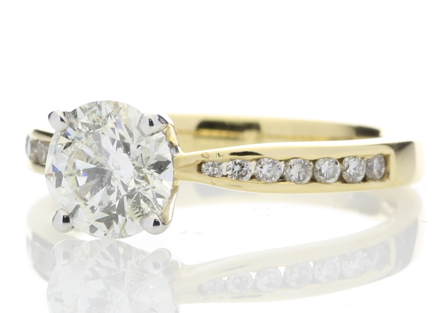 18ct Yellow Gold Diamond Ring With Stone Set Shoulders 1.28 Carats - Image 2 of 5