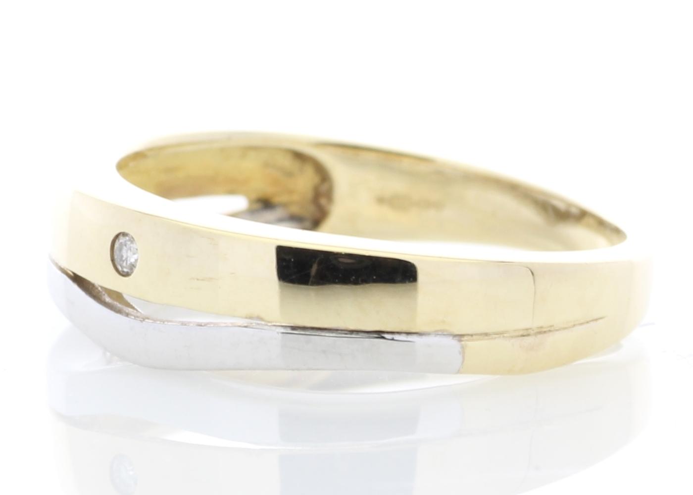 9ct Yellow Gold Single Stone Rub Over Set Diamond Ring - Image 2 of 5