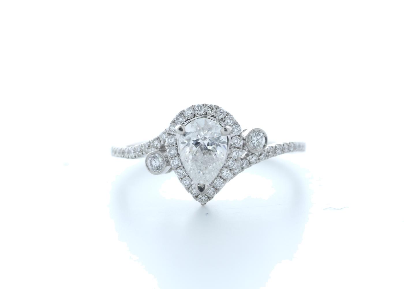 18ct White Gold Pear Shape Halo Diamond Ring 0.76 (0.51) Carats
