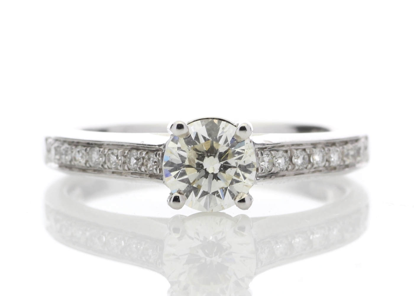 18ct White Gold Single Stone Claw Set Diamond Ring 0.73 Carats