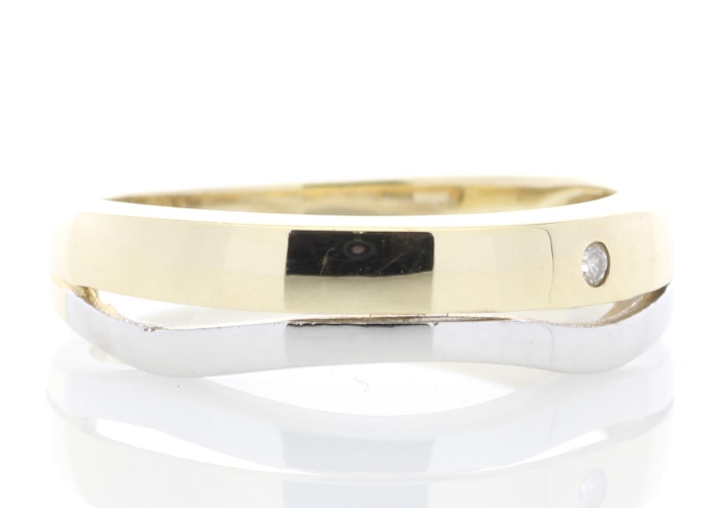 9ct Yellow Gold Single Stone Rub Over Set Diamond Ring - Image 4 of 5