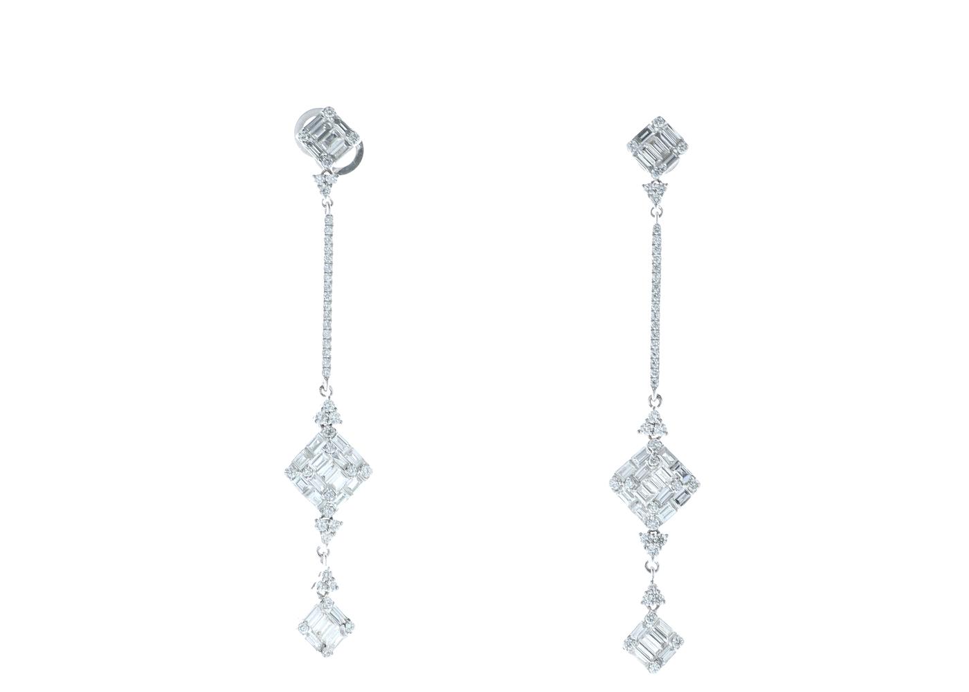 18ct White Gold Diamond Drop Earrings 2.29 Carats