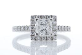 18ct White Gold Halo Set Princess Cut Diamond Ring 1.36 Carats