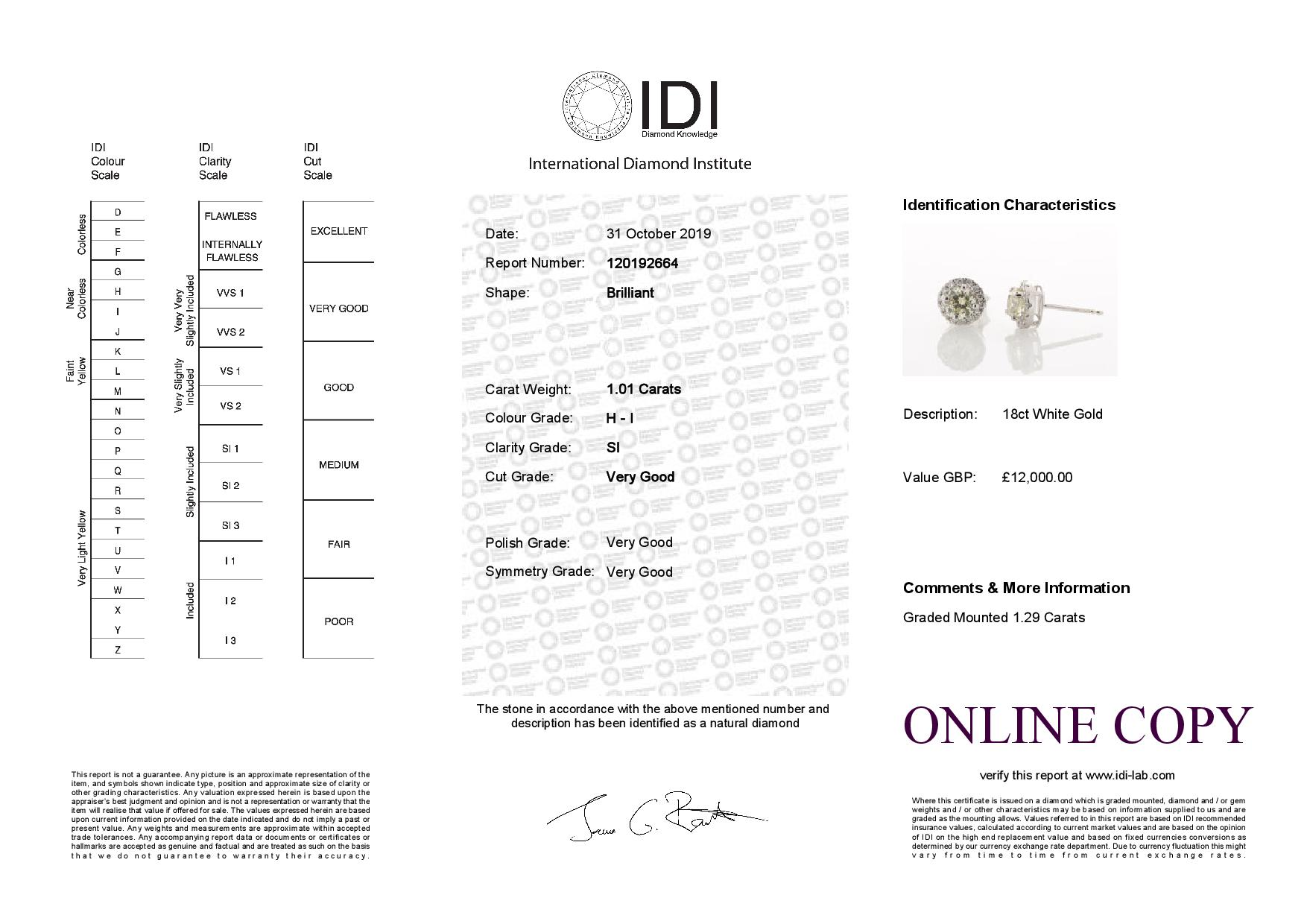 18ct White Gold Halo Set Earrings 1.29 Carats - Image 3 of 3