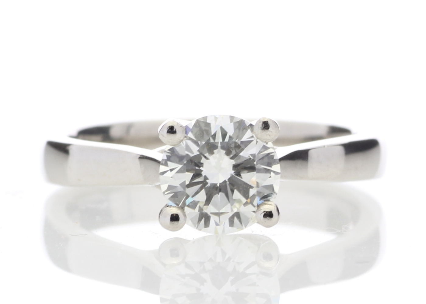 Platinum Single Stone Wire Set Diamond Ring 1.01 Carats