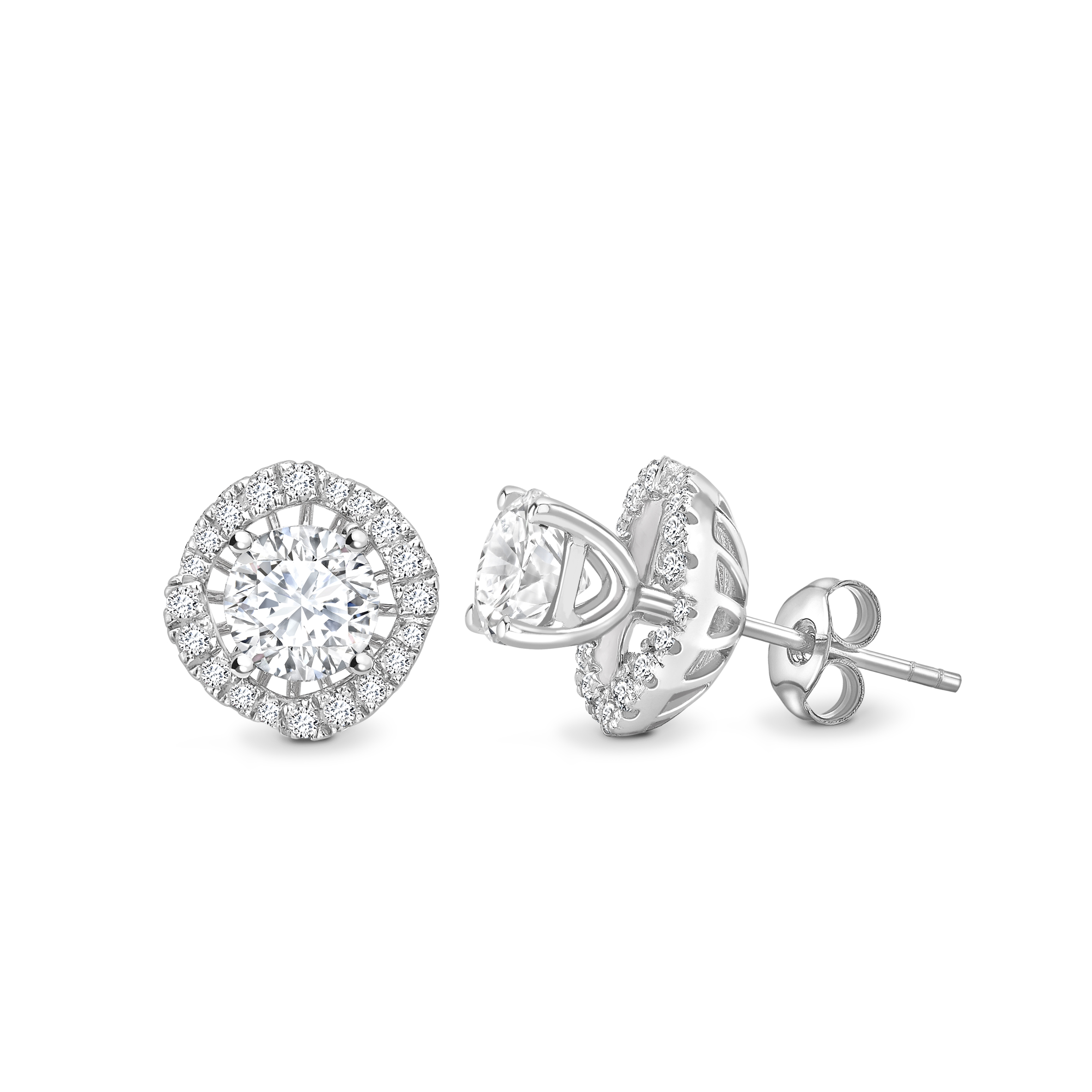 18ct White Gold Halo Set Earrings 1.50 Carats