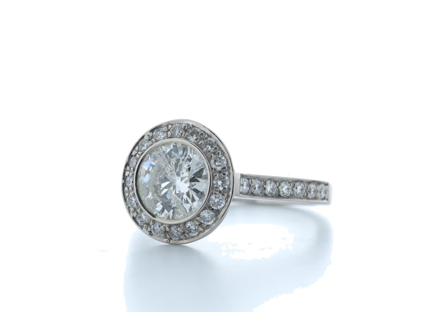 18ct White Gold Single Stone With Halo Setting Ring 2.00 (1.50) Carats - Image 2 of 5