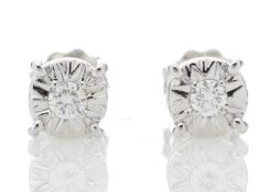 9ct White Gold Claw Set Diamond Earrings 0.10 Carats