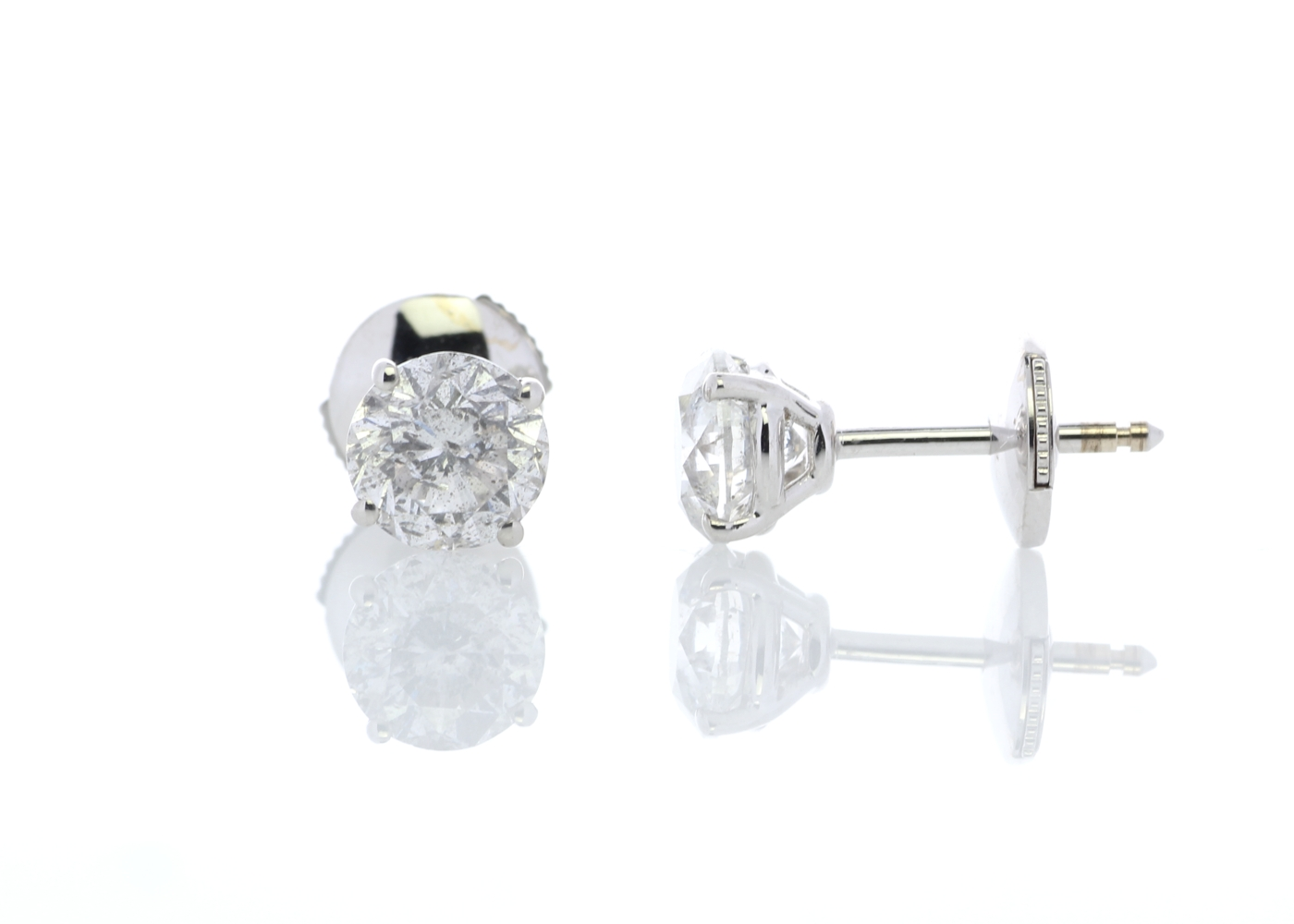 18ct White Gold Claw Set Diamond Earrings 2.21 Carats - Image 3 of 4