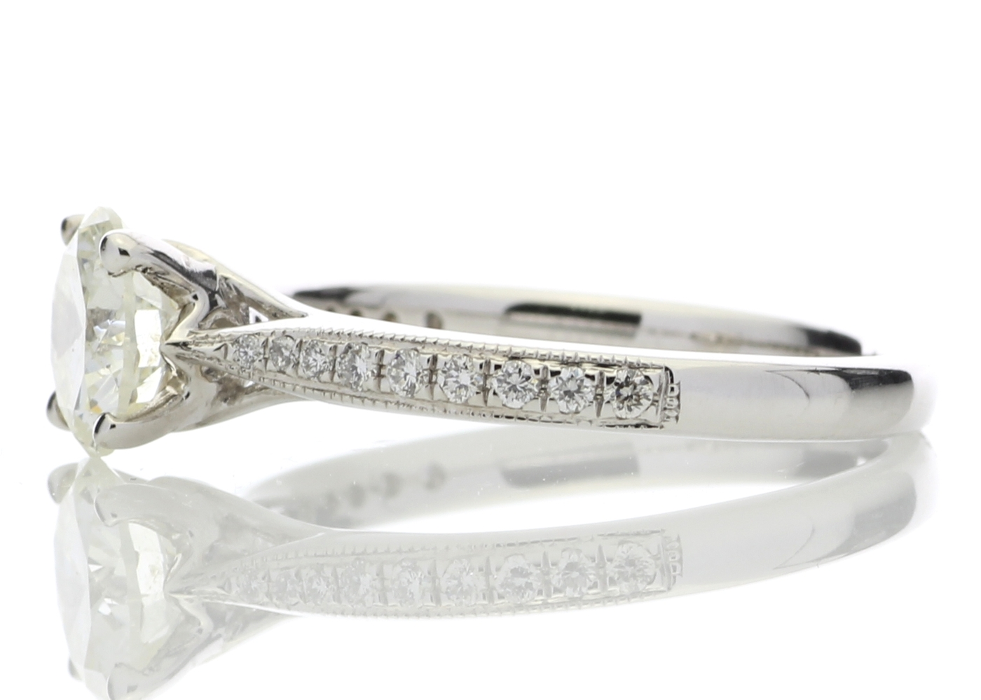 18ct White Gold Diamond Ring With Stone Set Shoulders 1.15 Carats - Image 3 of 5
