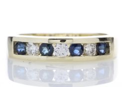 9ct Yellow Gold Channel Set Semi Eternity Diamond Ring 0.25 Carats