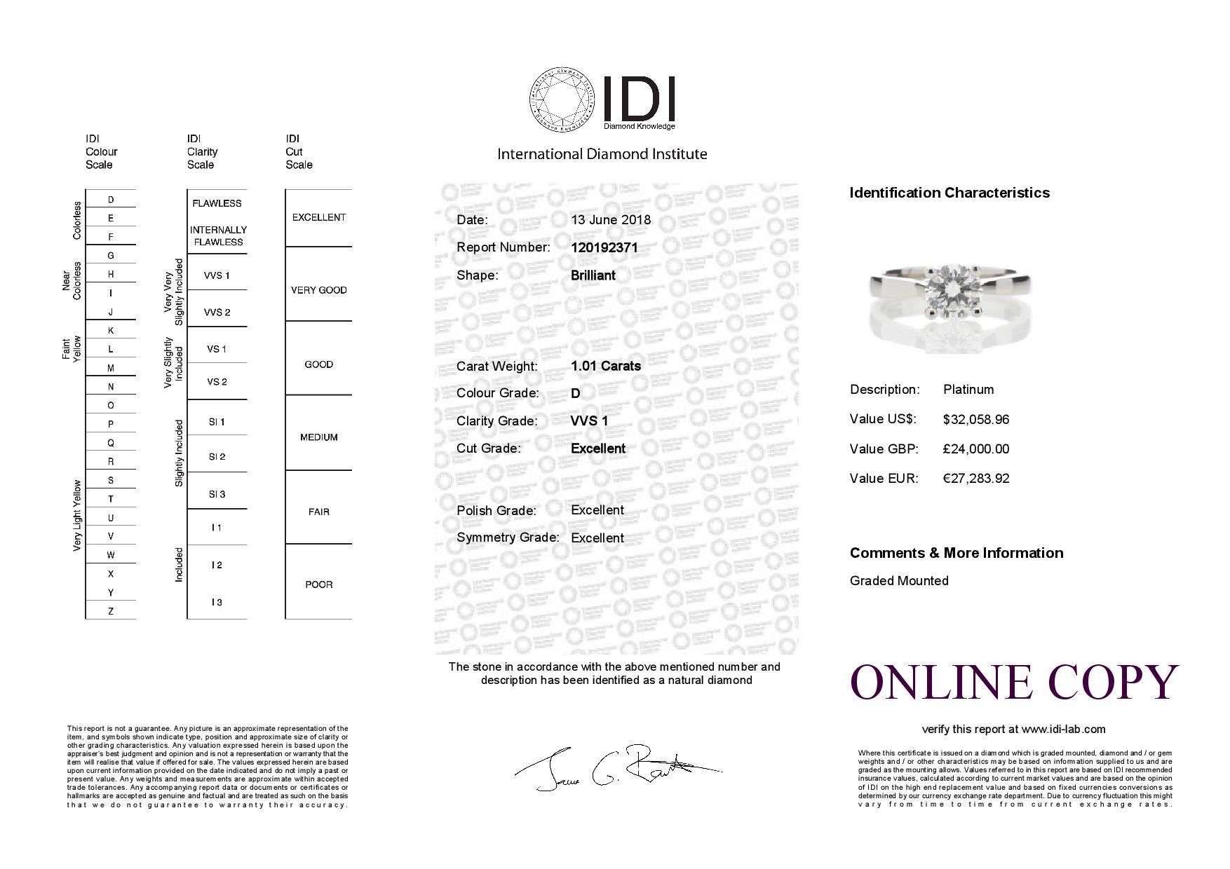 Platinum Single Stone Wire Set Diamond Ring 1.01 Carats - Image 5 of 5