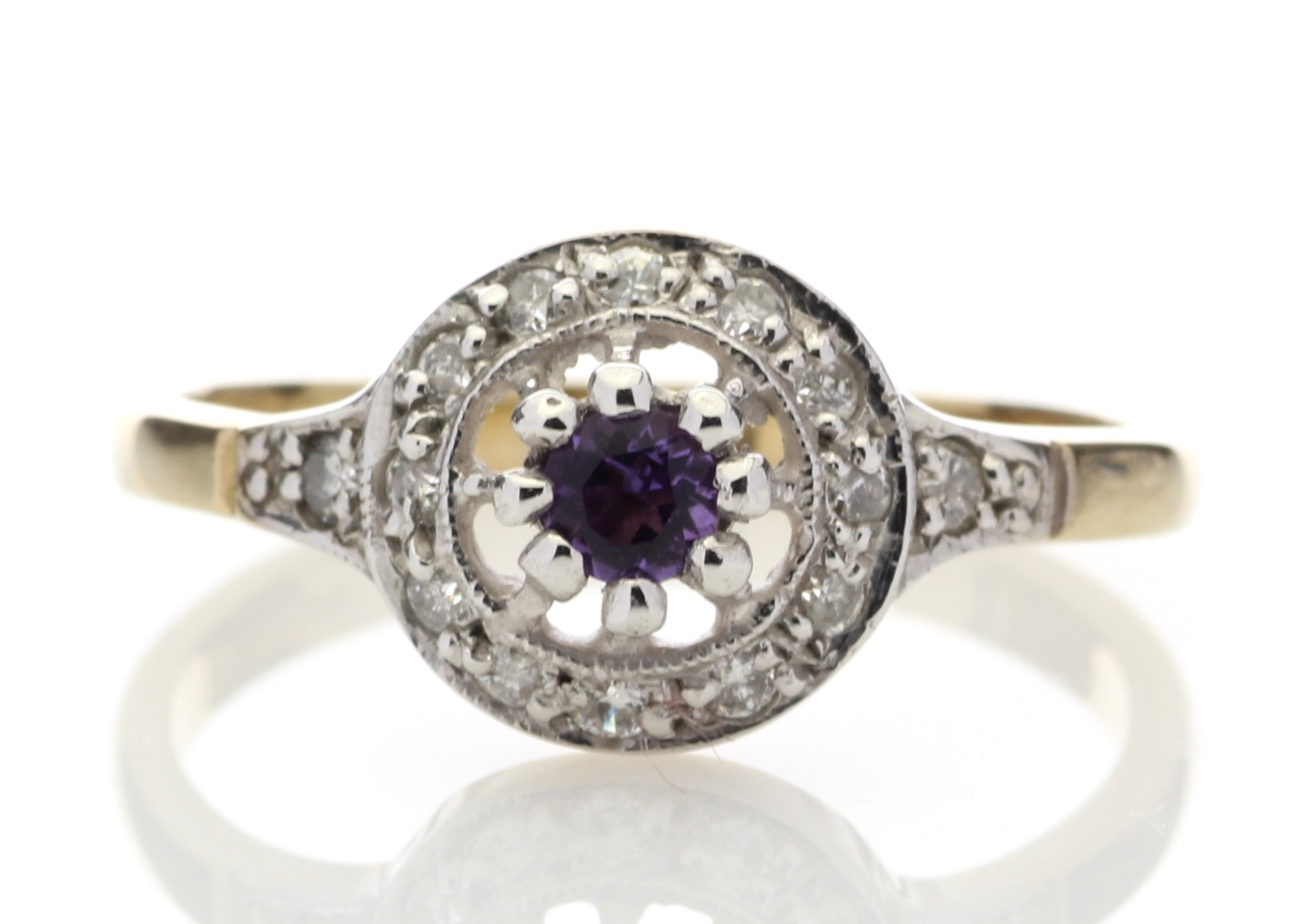 9ct Yellow Gold Round Cluster Claw Set Diamond Amethyst Ring 0.21 Carats