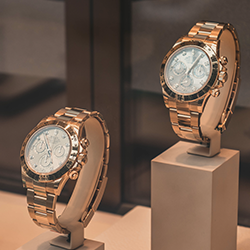Christmas Sale of Luxury Watches I Featuring a Cartier Ballon Bleu 36 WJBB0005 / 3003 Ladies Rose Gold Diamond Watch.