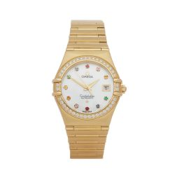 Omega Constellation 1197.79.00 Ladies Yellow Gold Iris Mid Size Automatic Watch