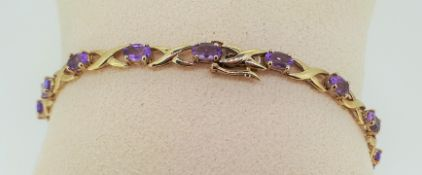 9ct (375) Yellow Gold Amethyst Fancy Link Bracelet
