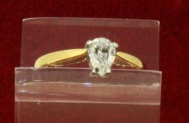 18ct (750) Yellow Gold 0.50ct Pear Shaped Solitaire Diamond Ring