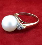 14ct (585) Yellow Gold 11mm Pearl and 0.18ct Diamond Dress Ring