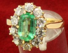 Vintage 14ct Yellow Gold 1.30ct Emerald and Diamond Cluster Ring and Insurance Valuation Certificate