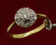 Vintage 18ct (750) Yellow Gold Diamond Cluster Ring