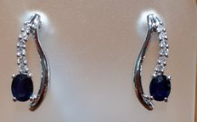 9ct (375) White Gold Sapphire & Diamond Stud Drop Earrings