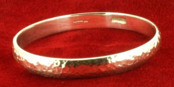 Sterling Silver Hammer Finished Handmade Round Bangle - 8.5mm Wide