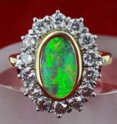 18ct (750) Yellow Gold Black Opal & 1.4ct Diamond Cluster Ring - Hand Made with Insurance Valuation