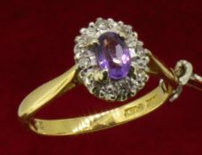 18ct (750) Yellow Gold Oval Amethyst & Diamond Ring