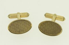 9ct (375) Yellow Gold Textured Oval Cufflinks with 'T-Bar' Fitting