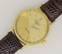 LONGINES 18ct Yellow Gold 750 Ladies Watch on Brown Leather Strap