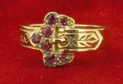Vintage 9ct (375) Yellow Gold Ruby Buckle Ring