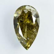 IGI Certified 1.01Cts 100% Natural Fancy Greenish Brownish Yellow Colour Diamond
