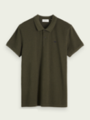 Olive green scotch & soda short sleeved pique polo shirt uk m rrp £70