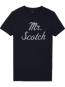 Men's scotch & soda smart casual midnight crew neck tee with logo uk m rrp £50