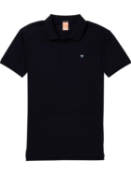 Scotch & soda classic pique men's cotton night blue smart casual polo shirt uk xl rrp £70