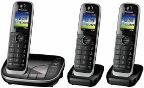 Panasonic 3 set cordless house phone answer machine call blocker trio set rrp £150