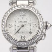 Cartier / Pasha Diamond - Unisex White gold Wrist Watch