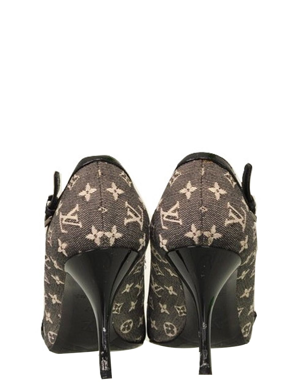 Louis Vuitton - Mini Lin Monogram Canvas & Leather Pointy Heels - Image 4 of 5
