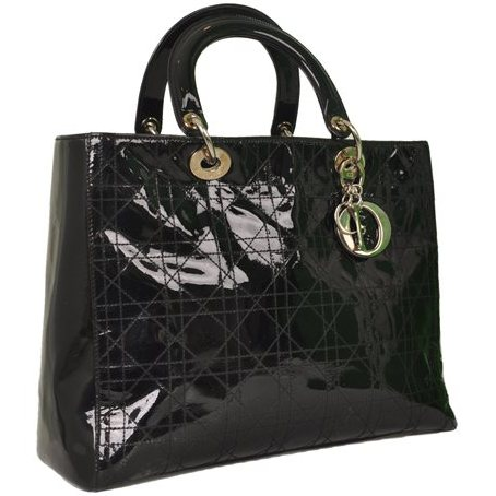 Christian Dior - Lady Dior Large Patent Leather Hand Bag - Image 5 of 5