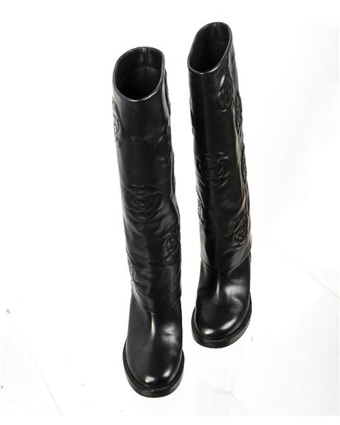Chanel - Calfskin Camellia High Boots Black - Image 5 of 6