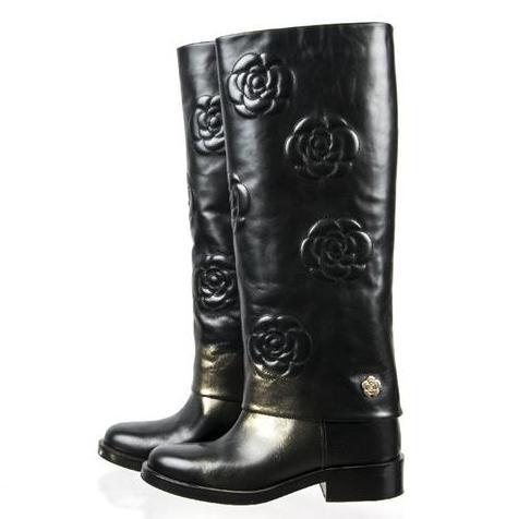 Chanel - Calfskin Camellia High Boots Black