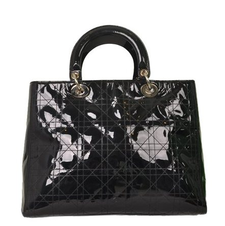 Christian Dior - Lady Dior Large Patent Leather Hand Bag - Image 4 of 5