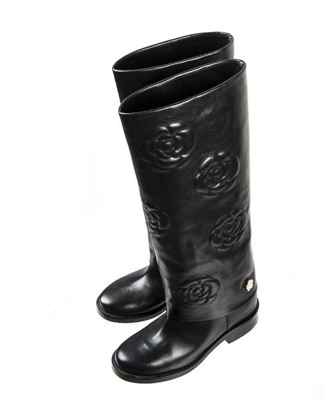 Chanel - Calfskin Camellia High Boots Black - Image 2 of 6