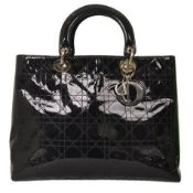 Christian Dior - Lady Dior Large Patent Leather Hand Bag