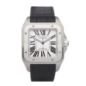 Cartier Santos 100 W20090X8 or 2656 Men Stainless Steel Chronograph XL Cartier Service Watch