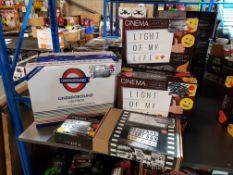 9 Items Ð 4 X Cinema Light Box, 3 X Underground Light Box, 3 X Underground Light, 1 X Original Light