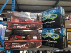 7 Items Ð 5 X Red5 The Illuminator Light Up Drone & 2 X Red5 X-Knight 4 Wheel Drive Extreme Speed B