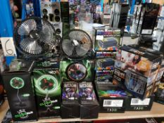 17 Items Ð Mixed Lot To Inc 4 X Led Clockfan, 3 X Dual Beam Laser Projector, 2 X Phone Jail, 2 X Pa