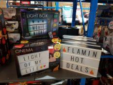 11 Items Ð 9 X Cinema Light Box (5 X No Box) & 2 X Colour Changing Light Box